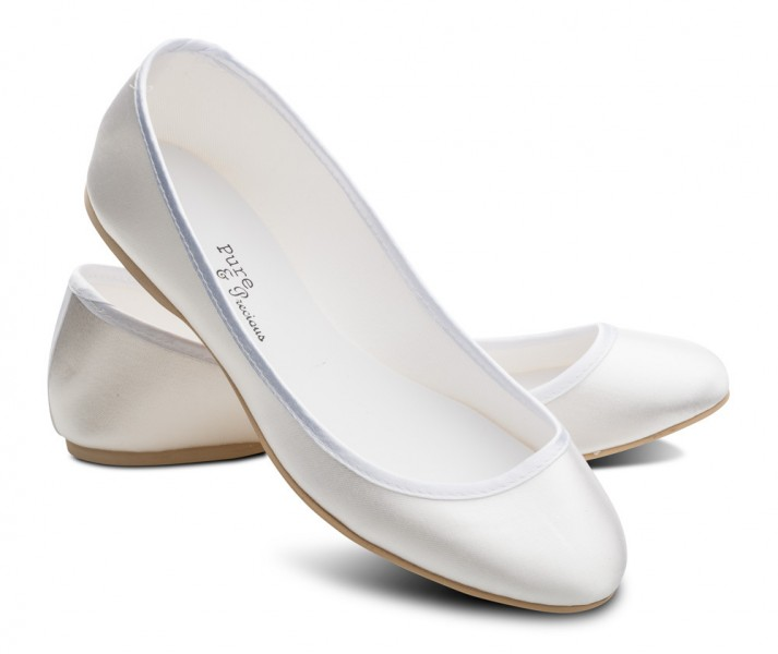 Ivory Satin Bridesmaid Flower Girls Shoes Meadow Low Heel By Pure /& Precious