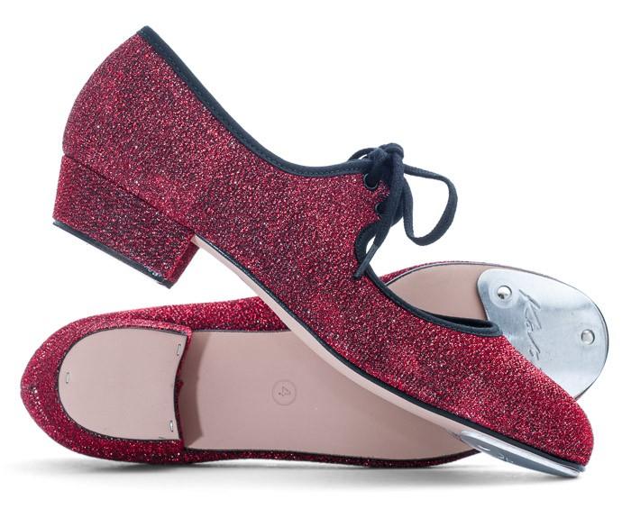 Katz Dancewear Girls Ladies Red Glitter Low Heel Tap Dance Shoes with Toe Plates