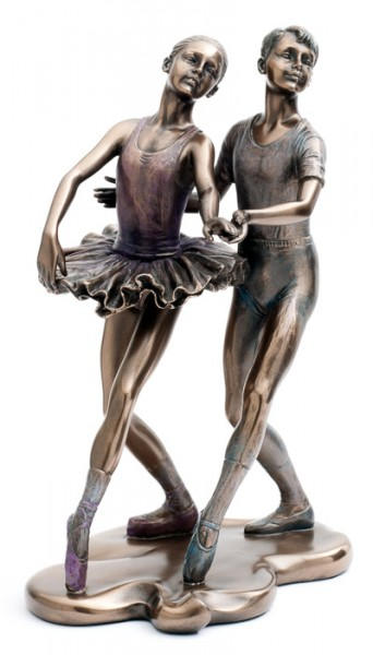 Lovely Bronze Effect Pair Of Ballet Dancers Figurine By