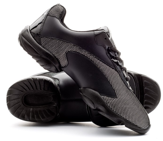 Katz Dancewear Black PU Rubber Split Sole Lace Up Jazz Dance Stage Practice Boot Shoes