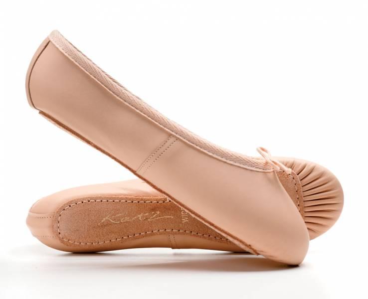 Ballet Chaussures en Cuir Rose Plein Semelle avec élastiques