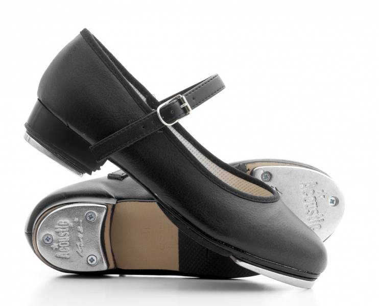 Girls Ladies Black Bar Tap Dance Shoes With Tap Plates