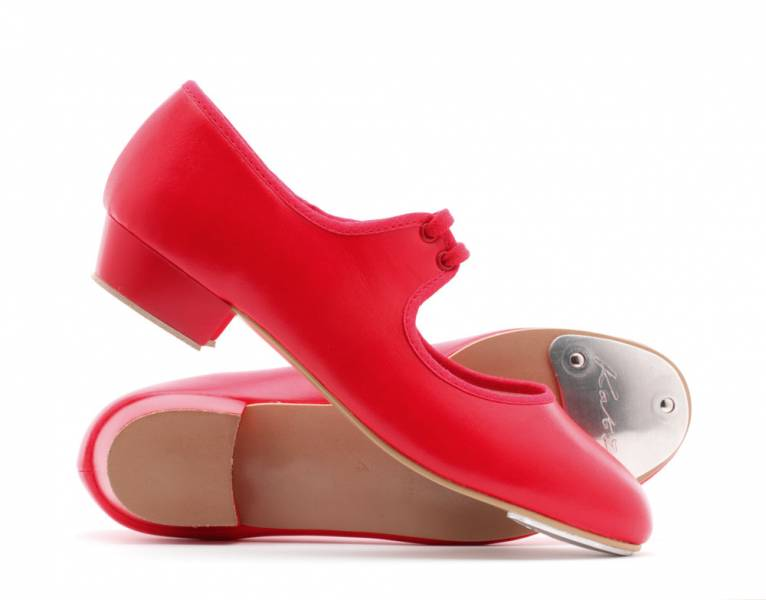 Girls Ladies Red PU Low Heel Tap Dance Shoes With Tap Plates By Katz Dancewear