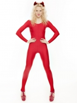 b96a91258 RED KDC012 Halloween Devil Fancy Dress Unitard Catsuit Costume All Sizes